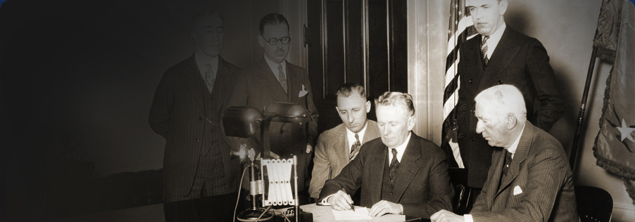 Governor Young signing a bill, 1927